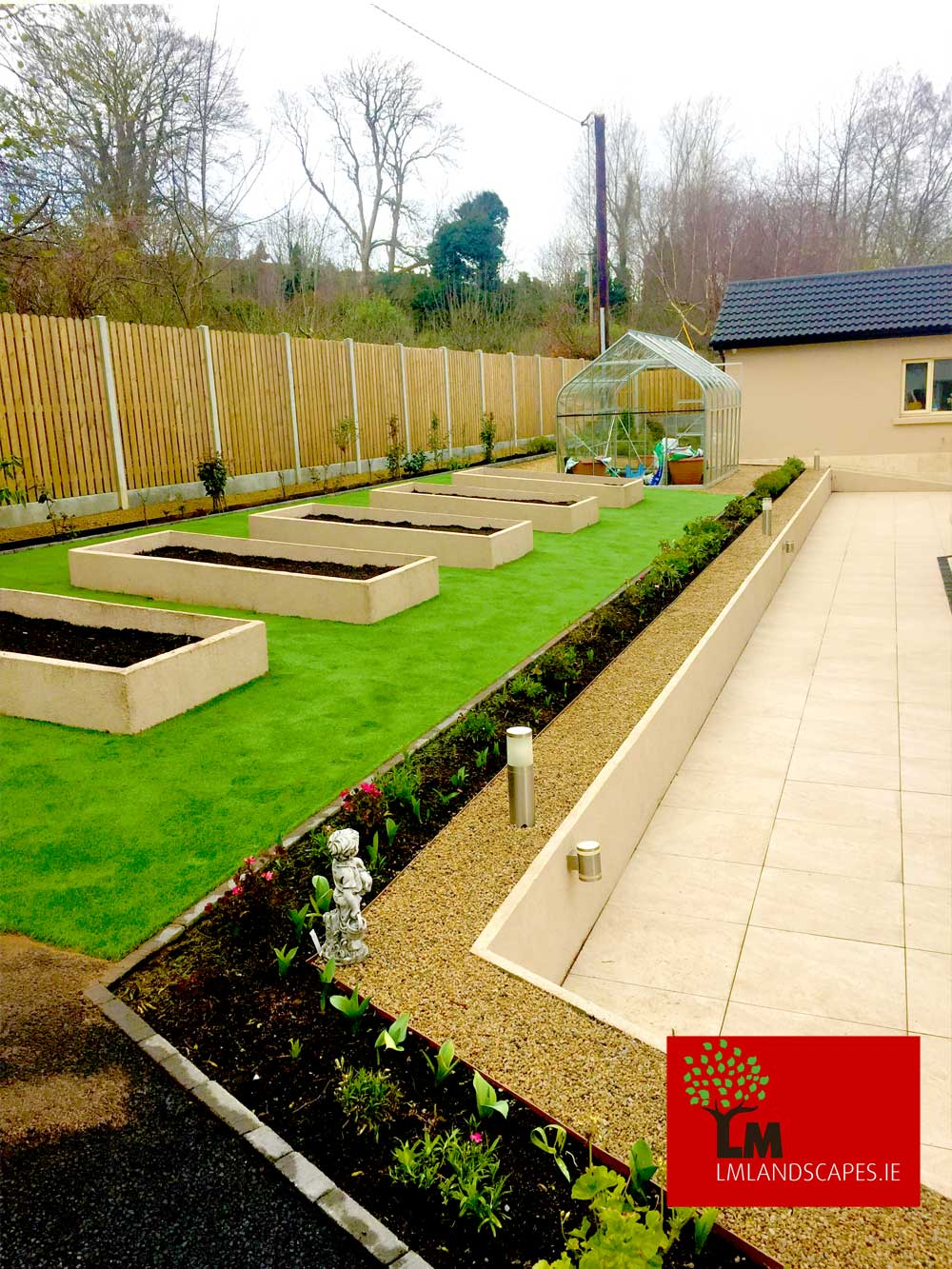 Raised beds with Artificial Grass and Patio.